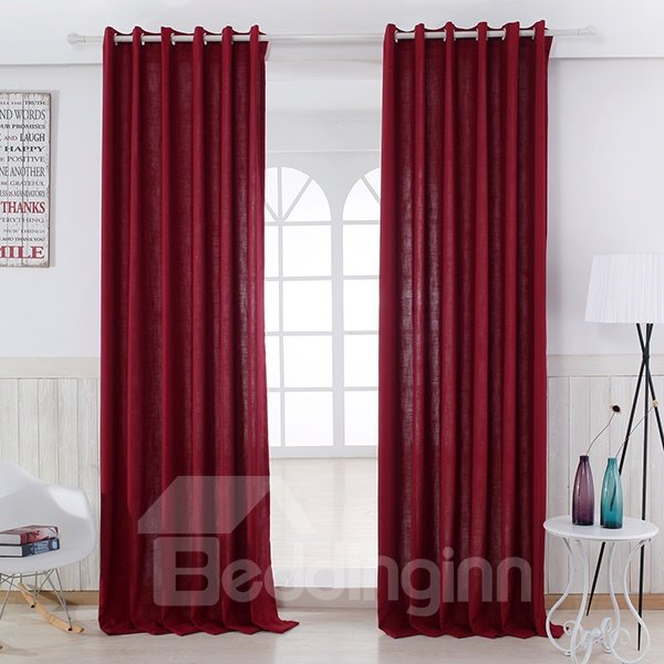 Pure Colored Super Soft Red Custom Grommet Top Curtain