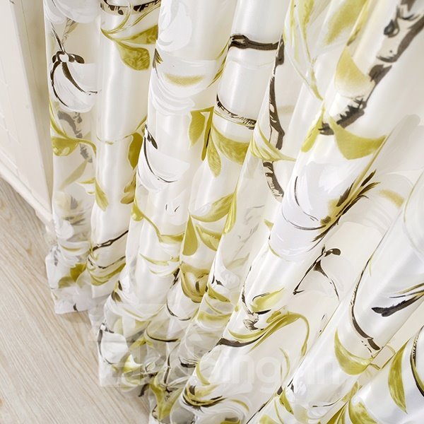 Flower and Bird Pattern Sheer With the Lining Yellow Grommet Top Curtain