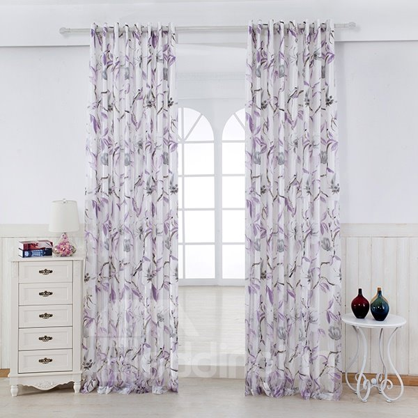 Flower and Bird Pattern Sheer With the Lining Purple Grommet Top Curtain