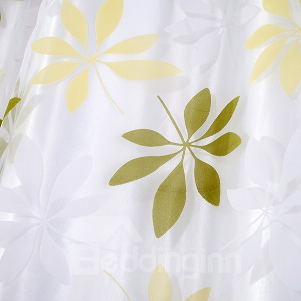 Green Flower Printing Sheer With the Lining Grommet Top Curtain