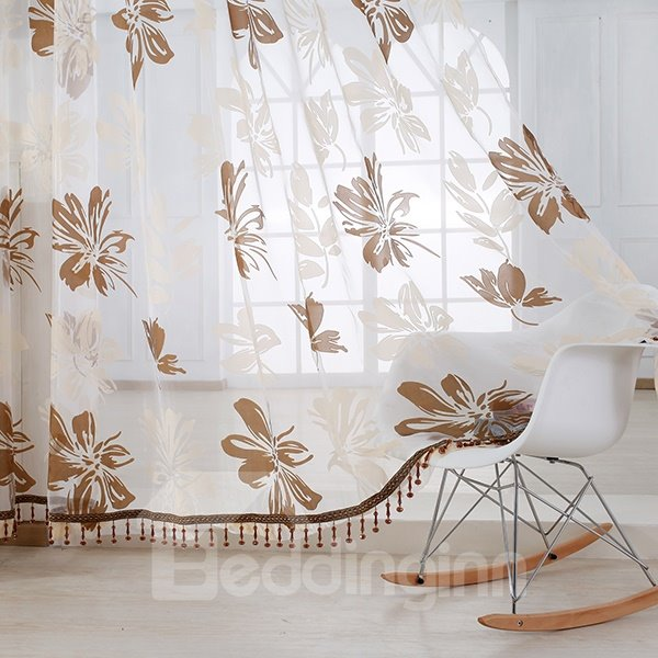 Coffee Flowers Printing Custom Sheer Curtain