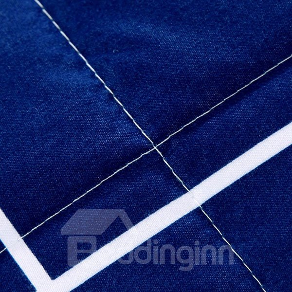 Modern White Mustache and Plaid Dark Blue Polyester Quilt
