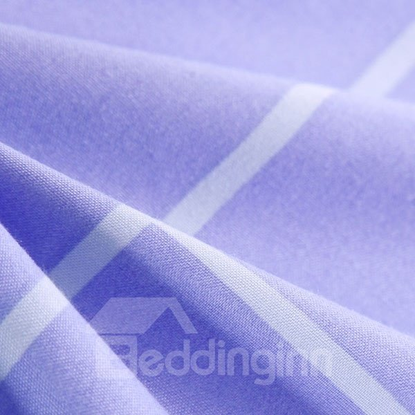 Beuatiful Simple Plaid Design Light Purple Polyester Quilt