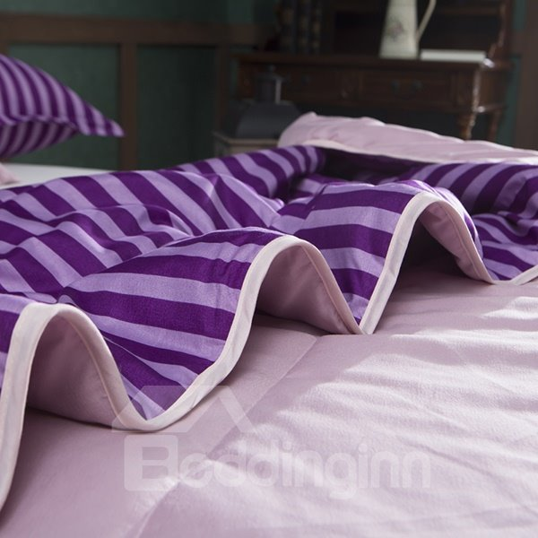 Silky Noble Purple Stripes Polyester Summer Quilt