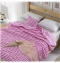 High Class Comfortable Pink and White Stripes Polyester Quilt