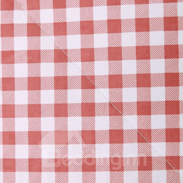 Adorable Lightweight Plaid Pink Polyester Quilt