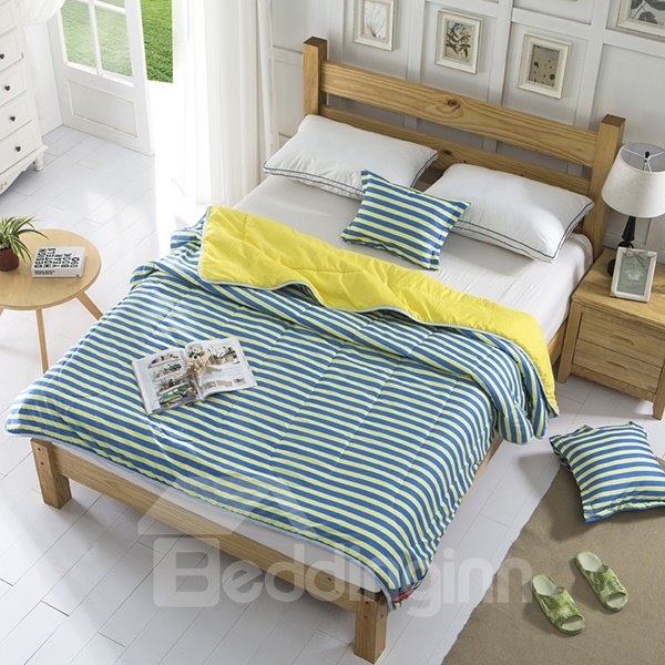 Concise Yellow and Blue Stripes Polyester Quilt