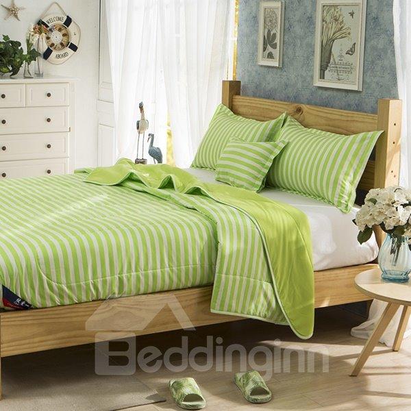 Refreshing White Stripes Light Green Polyester Summer Quilt
