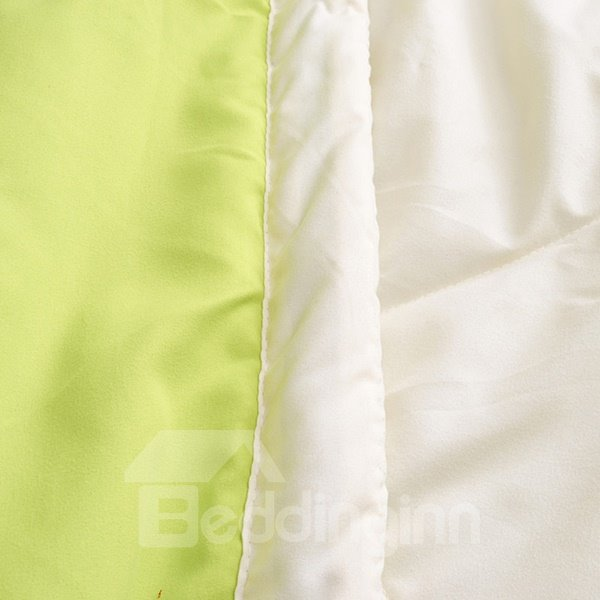 Simple Fresh Green and Beige Reactive Printing Polyester Quilt