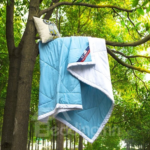 Pretty Glamorous Sky Blue and White Polyester Quilt