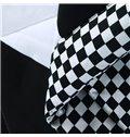 Super Soft Black and White Checker Print Polyester Quilt