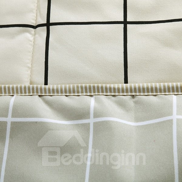 Neutral Concise Plaid Print Soft Polyester Quilt