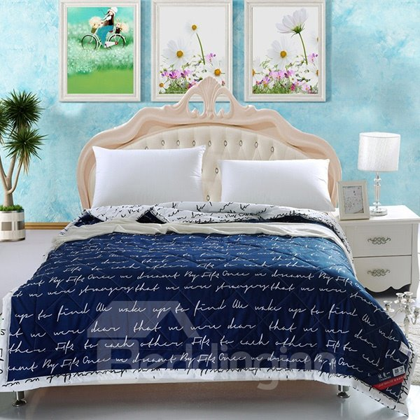 Popular Letter Reactive Printing Blue Polyester Quilt