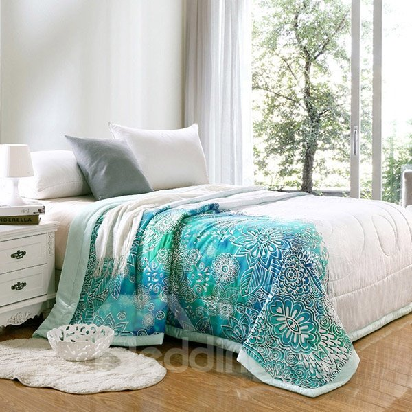 Personality Style Flowers Print Soft Tencel Quilt