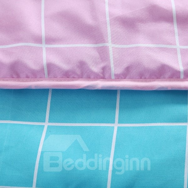 Romantic Concise Plaid Pink and Blue Polyester Quilt