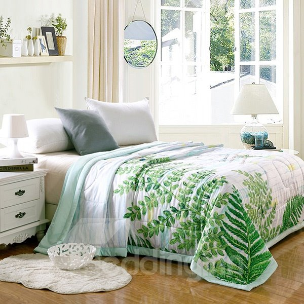 Pastoral Style Stylish Green leaves Print Tencel Summer Quilt