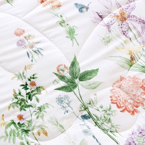 Fresh Style Colorful Floral Print Washable Modal Quilt