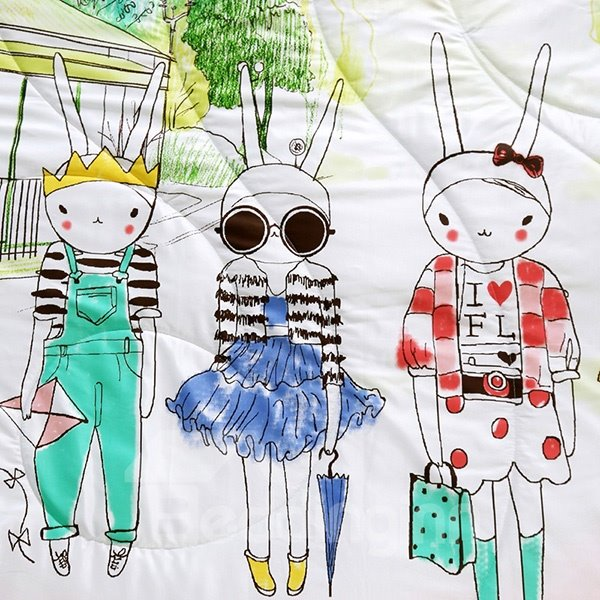 Modern Lovely Cartoon Bunnies Reactive Printing Tencel Quilt