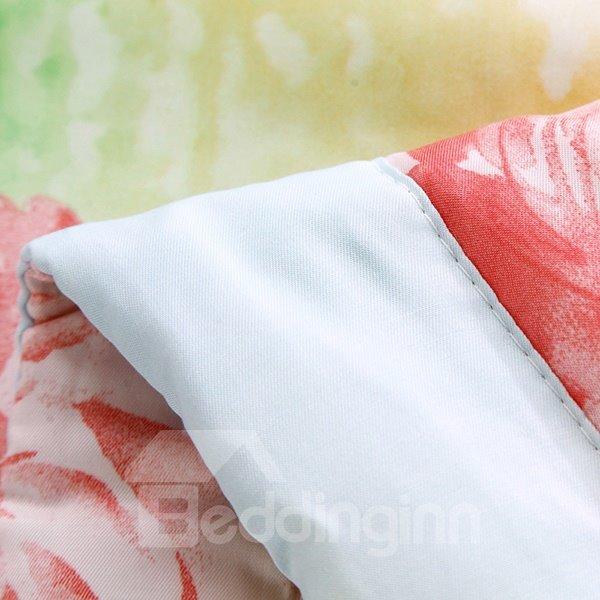 Fresh Pastoral Floral Reactive Printing Comfy Quilt