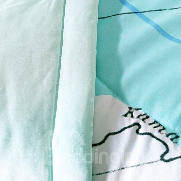Unique Colorful World Map Design Soft Quilt