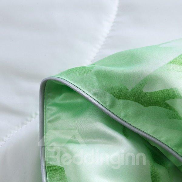 Lightweight Vintage Retro Flowers Print Green Quilt