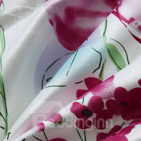 Pastoral Red Flowers Reactive Printing White Quilt