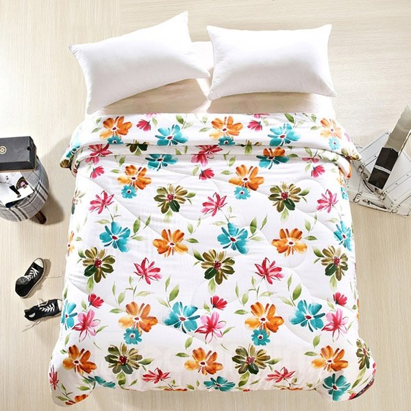 Chic Design Beautiful Flowers Reactive Printing Summer Quilt