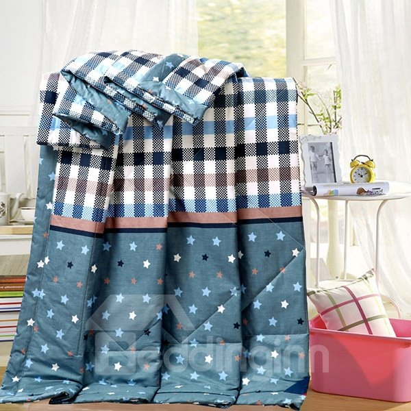 Concise Lucky Star and Plaid Print Cotton Quilt