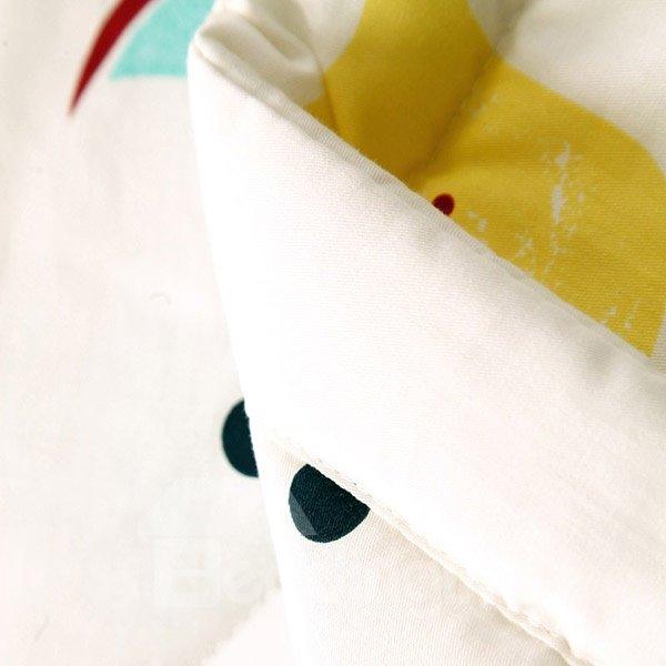 Adorable Lemon Fruit and Cups Print Cotton Quilt
