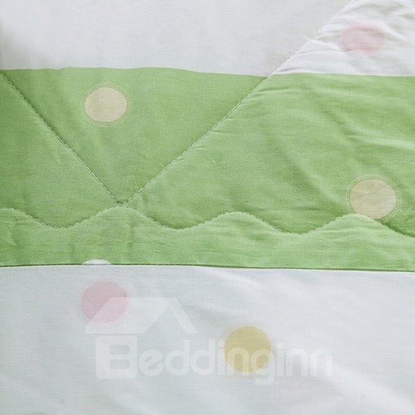 Concise Candy Color Stripe Pure Cotton Quilt