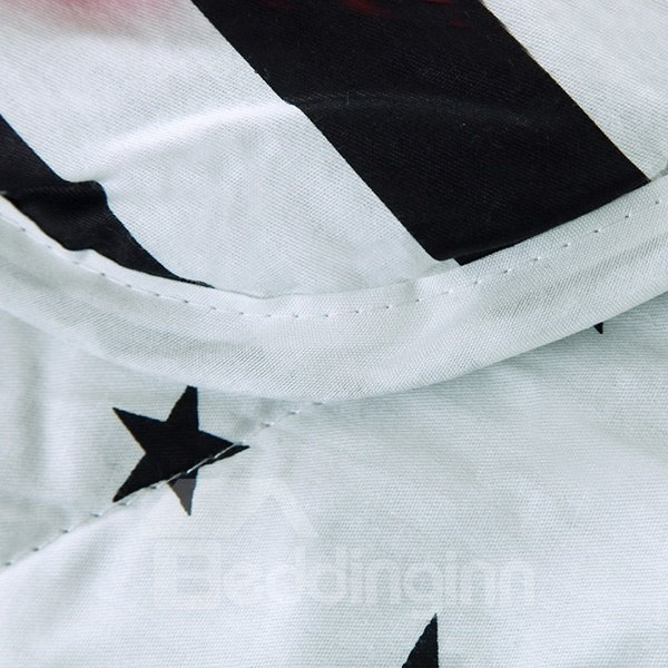Popular Black Stars & Stripes White Cotton Quilt