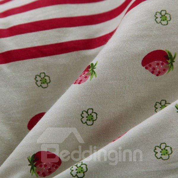 Unique Strawberries and Anchors Print 100% Cotton Quilt