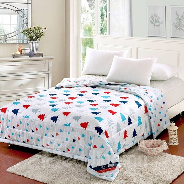 Lovely Pine Tree Print 100% Cotton Summer Quilt