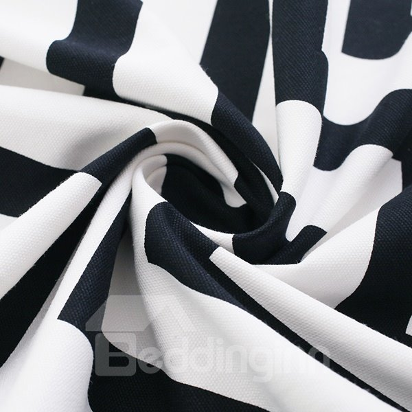Cotton Printing Black and White Stripe Grommet Top Curtain