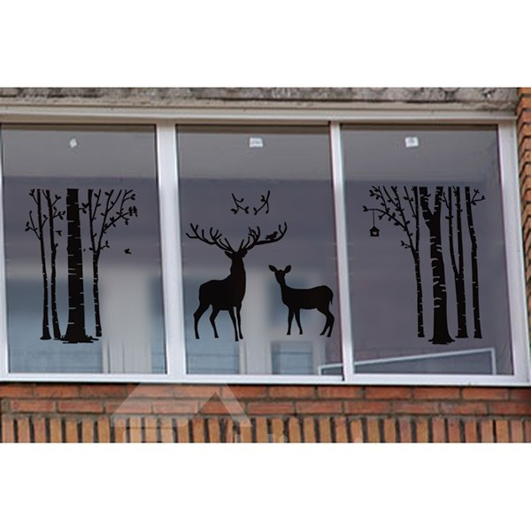 Black Deer and Tree Pattern Glass Wall Sticker