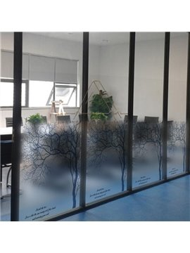 Beautiful Black Tree and Letter Pattern Glass Wall Sticker