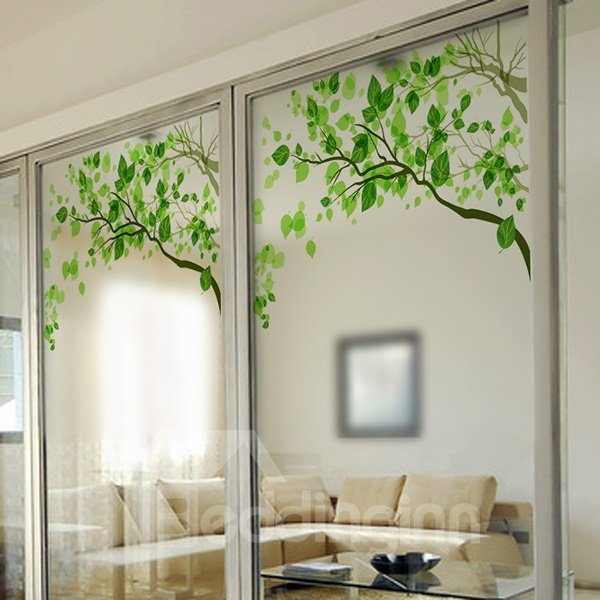 Green Tree Pattern Decorative Glass Wall Sticker
