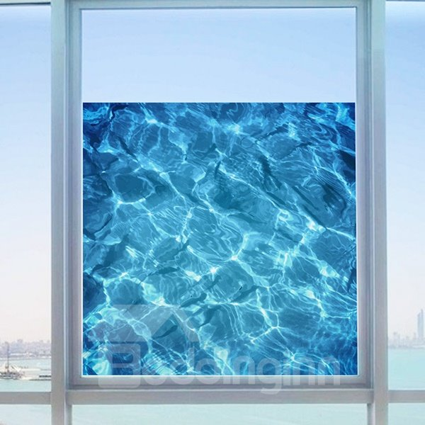 Decorative Blue Sea Water Pattern Glass Wall Sticker