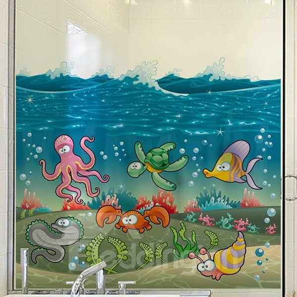 Cute Sea Fishes and Octopus Pattern Glass Wall Sticker