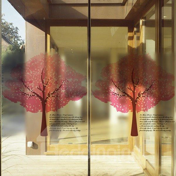 Beautiful Two Red Tree Pattern Glass Wall Sticker