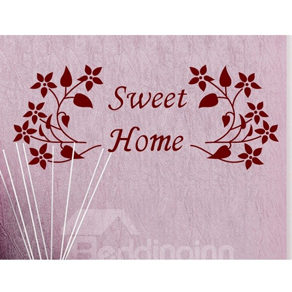 Red Sweet Home and Flower Pattern Wall Sticker