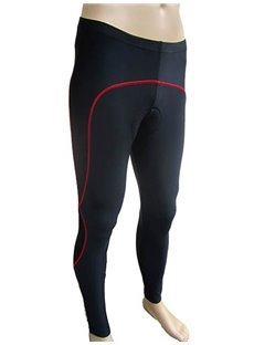 Men's Black with Red Strip Cycling Padded Pants Outdoor Compression Tights