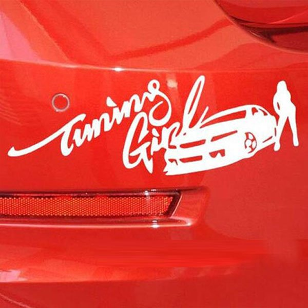 Beauty Girl And Racing Easy To Put Up Car Sticker