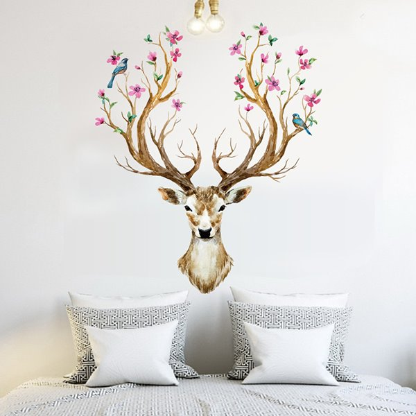 Creative Sika Deer Pattern Home Decorative Wall Sticker