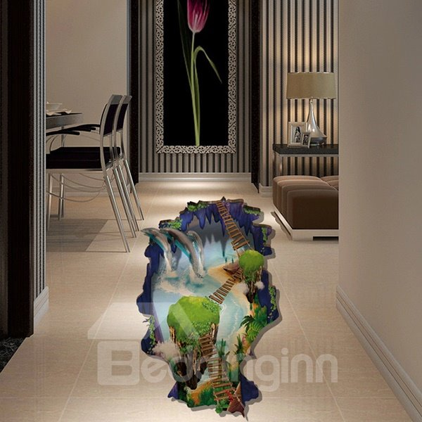 Amusing 3D Broken Floor Waterfall Scenery Pattern Wall Sticker