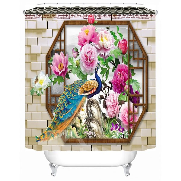 Colored Peacock and Blooming Peony Print 3D Bathroom Shower Curtain