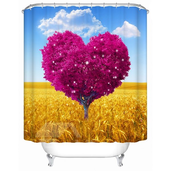 A Pink Heart-Shaped Tree Print 3D Bathroom Shower Curtain
