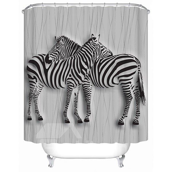 Two Zebras Crossing Their Neck Print 3D Bathroom Shower Curtain
