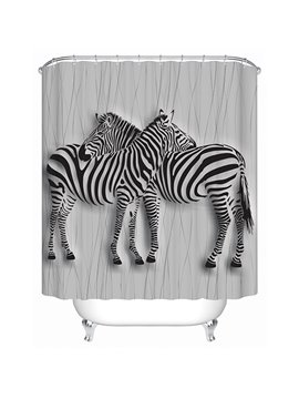 Two Zebras Crossing Their Neck Print 3D Bathroom Shower Curtain