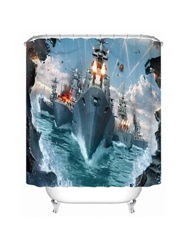 Naval Fleet at the War Print 3D Bathroom Shower Curtain